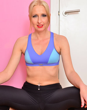 Blonde and flexible 37 year old Tracey Lain doing some stretching