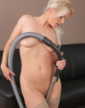 Beautiful blonde housewife Marlene doing a little naked housework