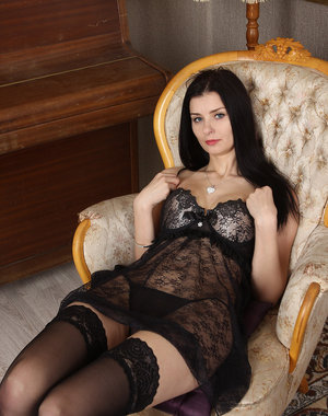 31 year old Helena Black looking so hot in her stockings and lingerie