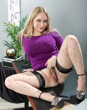 35 year old secretary Aiden Starr strips down at work in the office
