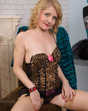 Cute 45 year old Isabella B from AllOver30 looking hot in her lingerie