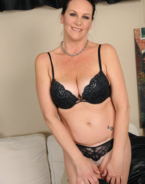 Beautiful 46 year old Sterling looking great in her hot black lingerie