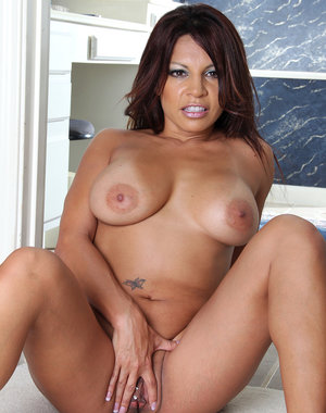 Exotic and elegant MILF Lola plays the flight attendant we all want