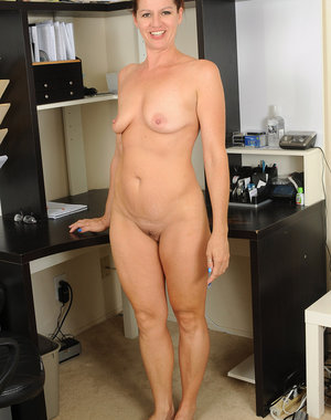 39 year old Xena from AllOver30 strips and spreads at the office