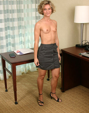 Blonde MILF Bianca shows us her wares after a day at the office
